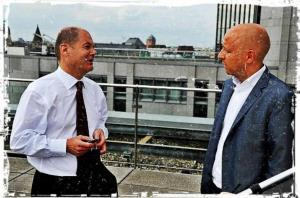 Jens Meyer-Wellmann mit Olaf Scholz Redaktion Die Welt
